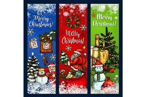 Christmas greeting banner with Xmas sketches