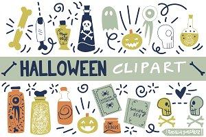 Halloween retro clipart blue