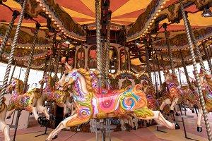 Horses sculptures at merry go round