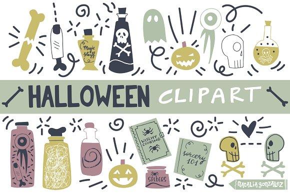 Halloween Retro Clipart Purple