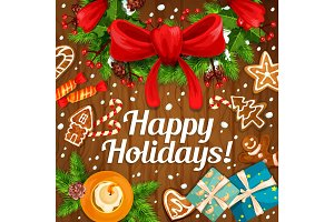 Happy winter holidays vector gifts greeting card