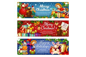 Merry Christmas holiday Santa gifts vector banners