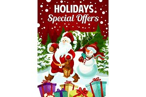 Winter holiday sale Santa gifts vector poster