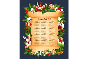 Winter holiday 2018 calendar vector template