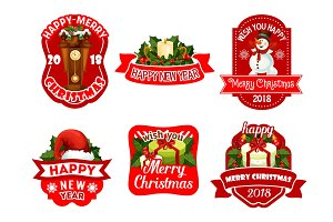 Christmas New Year holiday vector greeting icons