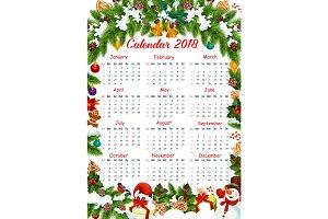 Christmas 2018 calendar vector decoration template
