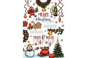 Christmas holidays celebration poster template