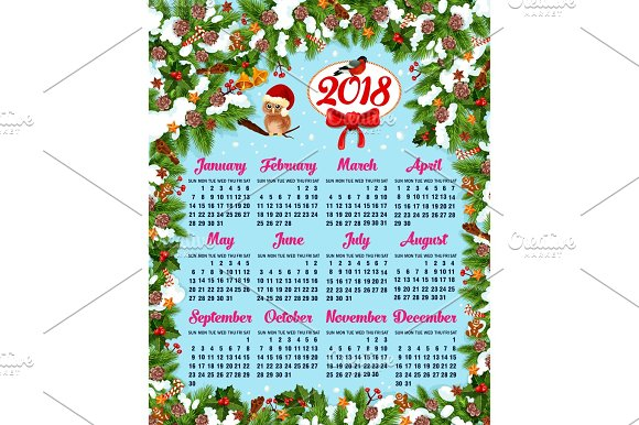 Calendar template with Christmas wreath frame