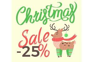 Christmas Sale -25% Reindeer Vector Illustration