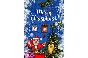 Santa Claus with gift bag Christmas greeting card
