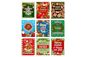 Christmas or New Year holiday greeting card design