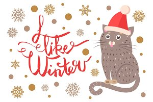 I Like Winter Poster with Cat Vector Illustration