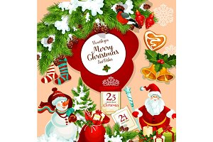 Merry Christmas vector Santa gift greeting card