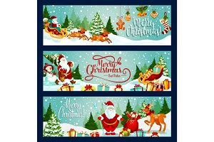 Merry Christmas santa vector greeting banners