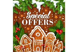 Christmas holiday sale vector promo cookie poster