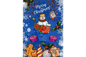Christmas holiday vector sketch greeting card