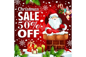 Christmas holiday promo sale Santa vector poster