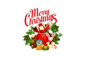 Merry Christmas Santa gifts vector greeting icon