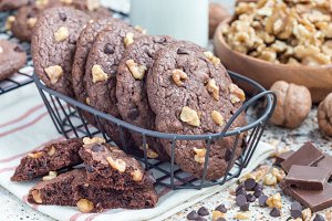 Homemade chocolate cookies with walnuts and chocolate chips in metal basket, horizontal