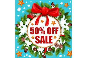 Christmas and New Year holidays sale banner design