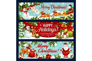 Christmas festive banner of Santa sleigh with gift