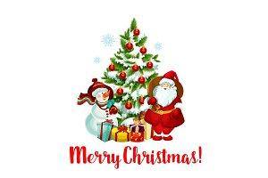 Winter Christmas holiday Santa snowman vector icon