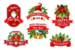 Christmas 2018 New Year vector greeting icons