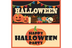 Happy Halloween Party Items Vector Illustration