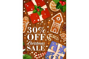 Christmas sale winter holiday vector gifts poster