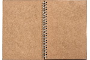 open notebook with ring binder