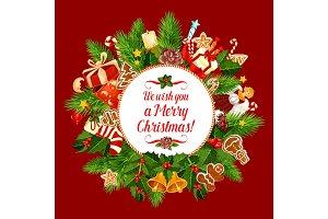 Merry Christmas holiday wish vector greeting card