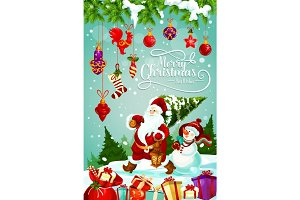 Merry Christmas holiday gifts vector greeting card