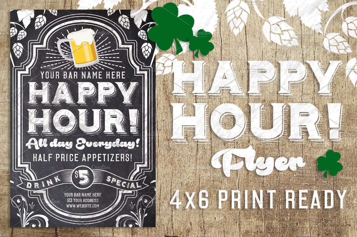 Chalk Happy Hour Flyer Flyer Templates Creative Market