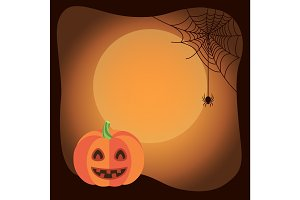 Halloween Poster Background with Funny Pumpkin