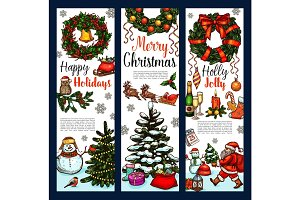 Christmas wreath greeting banner for Xmas holidays