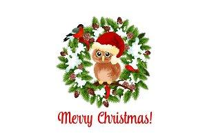 Merry Christmas holidays wish vector owl on wreath