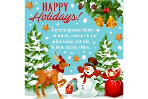 Christmas and New Year holidays greeting poster