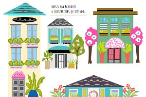Houses Boutiques Clip Art EPS