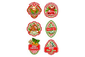 Christmas badge for New Year winter holiday design