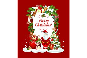 Merry Christmas Santa vector greeting card