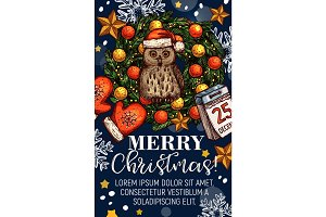 Merry Christmas wishes vector sketch greeting card