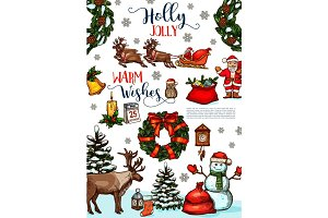 Christmas and New Year winter holidays poster