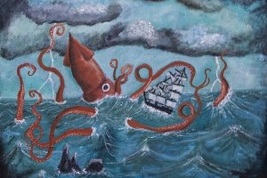 Giant Squid vs. Sailing Ship