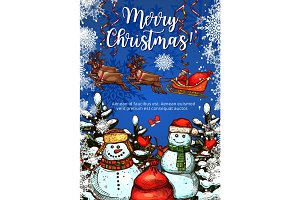 Christmas greeting card with snowman and Santa