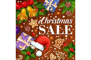 Christmas holiday promo sale gift vector poster