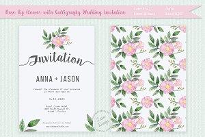 Rosehip Watercolor Wedding Invite