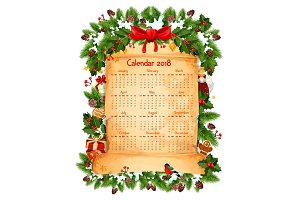 Christmas 2018 calendar decoration vector template