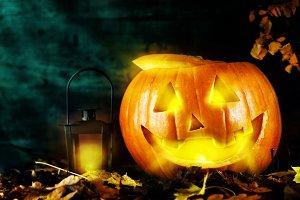 Mystery pumpkin with lantern