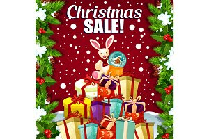 Christmas holiday sale vector promo gifts poster