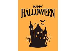 Happy Halloween Poster with Closeup Creepy House